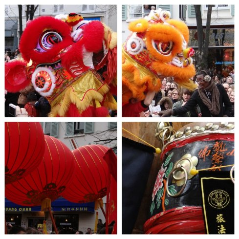 Nian beasts and the red lanterns and drums used to scare them away